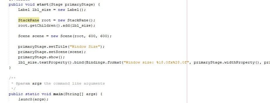 Window size in Java